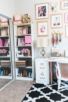 J Petite: Office Reveal Part 1 Pink Gold Office, Pink Office Decor, White Office, Cool Office Space, Office Workspace, Console, Workspace Inspiration, Glam Room, Office Makeover