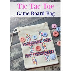 Tutorial: No-sew tic-tac-toe travel game bag This tic-tac-toe game on a drawstring bag is a fun little take-along travel game, and it has a vintage charm of a handmade game. It's actually a no-sew pro