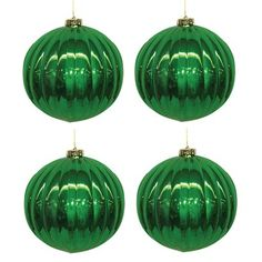4-pk. Emerald Green Shiny Ribbed Ball Ornaments 140-mm.. Find seasonal holiday decorations at Target.com! 4-pk. Emerald green shiny ribbed ball ornaments 140-mm.. Price: $21.99
