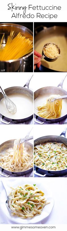 Skinny Fettuccine Alfredo -- this Italian classic is made lighter, but still oh-so-creamy, flavorful and ready to go in just 30 minutes! gimmesomeoven.com