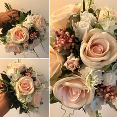 A wedding bouquet of artificial pink roses Artificial Wedding Bouquets, Pink Roses, Floral Wreath, Bows, Wreaths, Table Decorations, Bridal, Flowers, Arches