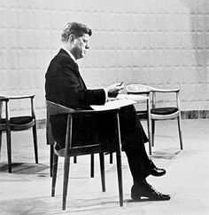 """John Kennedy, sitting on """"The Chair"""", designed by famous danish designer Hans Wegner Hans Wegner, John Kennedy, Danish Modern, Mid-century Modern, Danish Furniture, Danish Chair, Furniture Design, Danish Design Store, Round Chair"""
