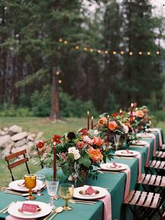 Emerald Green Wedding Decor with Colorful Flowers