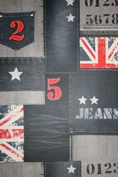 1221-5 behang spijkerbroek stof jeans engelse vlag spits wallcoverings
