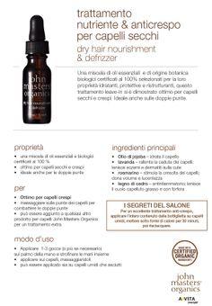 Trattamento nutriente & anticrespo per capelli secchi