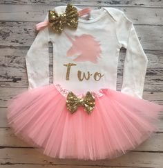 Pink and Gold Unicorn 2nd Birthday Personalized Bodysuit and Tutu, 2nd Birthday Unicorn Shirt, Light Pink Tutu and Headband, Prop by GlitterMeCute on Etsy https://www.etsy.com/au/listing/499596484/pink-and-gold-unicorn-2nd-birthday