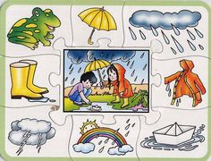 počasí Seasons Activities, Summer Activities For Kids, Preschool Activities, Crafts For Kids, Art Drawings For Kids, Easy Drawings, Weather For Kids, Colegio Ideas, Teaching Weather