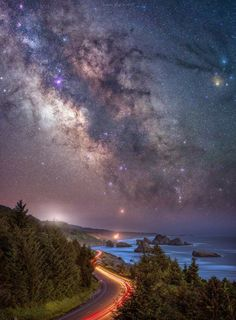 Milky Way Galaxy Oregon Coast Highway 101 and the Milkway Rising at Pistol River A windy highway 101 takes travelers across some of the most scenic beauty… - Milky Way Photography, Night Photography, Nature Photography, Landscape Photography, Tatoo Star, Galaxy Art, Star Sky, Stars In The Sky, Dark Skies