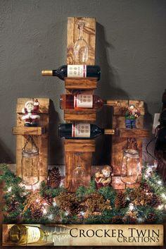 Christmas rustic wine rack/mason jar sets  www.facebook.com/crockertwincreations Rustic Wine Racks, Mason Jars, Facebook, Christmas, Home Decor, Xmas, Decoration Home, Room Decor, Mason Jar