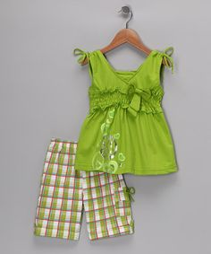 Lime Green Peace Top & Shorts - Toddler & Girls ~$9.99 (also available in purple, fuchsia, turquoise)