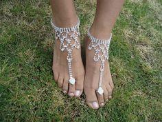 Brilhante descalça sandália cristal / pulseira pé praia casamento nupcial / dama de honra in Roupas, calçados e acessórios, Casamentos e ocasiões formais, Sapatos de noiva | eBay
