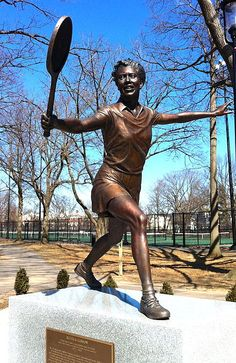 A statue of Althea Gibson, the first black woman to win Wimbledon, was placed in Branch Brook Park in New Jersey The US Postal Service honored Gibson with the stamp in the Black Heritage Series in Bronze, Althea Gibson, Fantasy Golf, American Tennis Players, Statues, Black History Facts, African History, African American History, Black Art