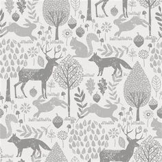 Fabric Patterns Gray Woodland Animals Fabric by Carousel Designs. - Gray Woodland Animals Fabric by Carousel Designs. Woodland Fabric, Woodland Decor, Woodland Baby, Nursery Fabric, Baby Fabric, Woodland Animal Nursery, Woodland Animals, Woodland Creatures, Kindergarten Wallpaper