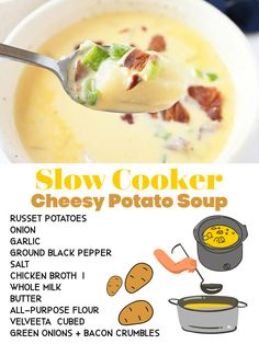 Homemade Slow Cooker Cheesy Potato Soup. We teach you how to make the ultimate comforting slow cooker cheesy potato soup recipe at home with simple ingredients like potatoes, onion, garlic, pepper, cheese, butter, and milk for creaminess. Topped with crisp bacon and green onion, this meal is delicious! via @sizzlingeats Crock Pot Slow Cooker, Slow Cooker Recipes, Crockpot Recipes, Soup Recipes, Dinner Recipes, Frozen Hashbrown Recipes, Cheesy Potato Soup, How To Cook Potatoes, Homemade Soup