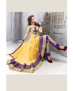 Yellow anarkali suit with heavy embroidered pant   1. Yellow net anarkali suit2. Comes with matching bottom and dupatta3. Can be stitched upto bust size 44 inches