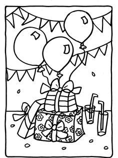 Kleurplaat Cadeautjes / verjaardag - Kleurplaten.nl cadeau slingers balonnen