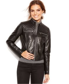 Marc New York Grace Quilted Leather Motorcycle Jacket - Women - Macy's