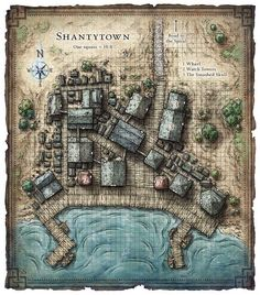 Port town Fantasy city map Fantasy world map Fantasy landscape