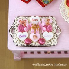 Heart Shaped Valentine's Cookies and Candy -  Dollhouse Miniature Food Handmade