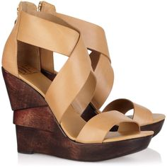 Diane von Furstenberg Opal leather wedge sandals ($162) ❤ liked on Polyvore featuring shoes, sandals, wedges, heels, zapatos, wedge heel sandals, leather strap sandals, strappy wedge sandals, platform shoes and wedge heel shoes