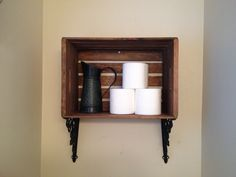 Bathroom shelf out of an apple crate. Great for country or nautical bathrooms.
