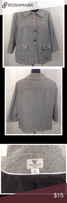 Black/White Worthington Blazer This Black/White blazer with beautiful silver buttons will keep you warm. Made with wool, polyester and acrylic. Machine wash cold.  Excellent condition. Worthington Jackets & Coats Blazers
