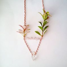 Asymmetrical plant, rose quartz, and quartz point necklace. Www.CraneGoose.etsy.com. #etsymatch #necklace #jewelry #rosequartz #crystals | by crane.goose