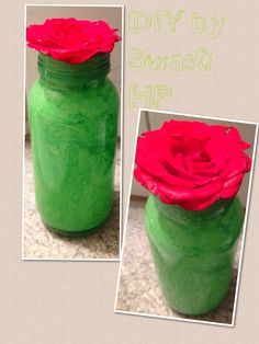 Painted an old Honey Bottle by water color in an impulse ! DIY By Swasti HP.