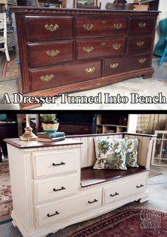 Old Furniture Into Fresh Finds for Your Home A beat-up dresser from the has a whole new life…a bench with storage plus a built-in side table.A beat-up dresser from the has a whole new life…a bench with storage plus a built-in side table. Home Projects, Redo Furniture, Refinishing Furniture, Home Decor, Repurposed Furniture, Furniture Making, Bench With Storage, Home Diy, Furniture Makeover