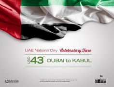 To commemorate the 43rd National Day of UAE, we are offering a celebratory fare of $43* on our Dubai – Kabul route. Book by the 6th of December 2014 and enjoy our special fare. *Terms and conditions apply. www.safiairways.com/new-promotion  To book now call our Dubai Office +971 (0)4 295 1040 or email info@safiairways.com