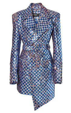 blue and silver checked glitter jacket Kpop Fashion Outfits, Stage Outfits, Mode Outfits, Chic Outfits, Fashion Dresses, Look Fashion, Runway Fashion, Womens Fashion, Fashion Design