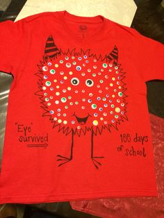 Diy 100 days of school monster shirt I made for my son! - 100 Days of School 💯 100th Day Of School Crafts, 100 Day Of School Project, 100 Days Of School, School Fun, School Projects, School Ideas, School Spirit Shirts, School Shirts, 100 Day Shirt Ideas