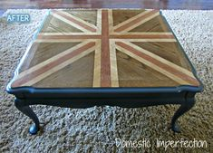 Better After: Domestic Diva Duel-this was a plain wooden table, it was sanded and painted in a Union Jack design...by Domestic Imperfection