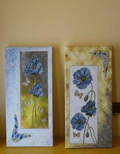 Cuadro con flores en decoupage, pintura y aplicaciones de cristal.