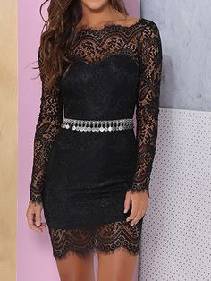 Black Long Sleeve Backless Overlay Sheer Lace Bodycon Dress