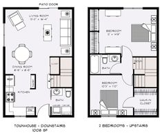 two bedroom townhouse floor plans | Floor Plans - Talent Parkside Apartments