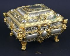 Early 20th C. Continental Brass Jewelry Casket