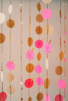 paper garlands, pink christmas, escort cards, kraft paper, branch, seating cards, diy projects, curtain, seating charts