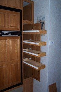 An RV upgrade where we remodeled our RV Pantry cabinet for better rv interior storage.
