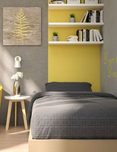 Yellow bedroom design ideas for teenager. Bedroom Wall Designs, Room Ideas Bedroom, Home Decor Bedroom, Yellow Gray Room, Small Couch In Bedroom, Minimalist Room, Home Room Design, My New Room, Girl Room