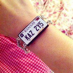 Supernatural - baby's original license plate bracelet. I NEED this!