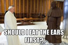 Pope Francis gets a chocolate statue of himself. - http://limk.com/news/pope-francis-gets-a-chocolate-statue-of-himself-201400977/