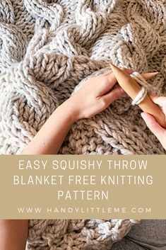 Chunky Cable Knit Blanket Pattern - This chunky knit blanket pattern is perfect for anyone who wants to learn how to knit cables. Make a huge cable blanket to snuggle into this season. Knit on huge needles, the cable knit blanket is a quick and easy knit. Cable Knit Blankets, Hand Knit Blanket, Knitted Blankets, Chunky Blanket, Blanket Scarf, Diy Origami, Easy Blanket Knitting Patterns, Scarf Patterns, Arm Knitting
