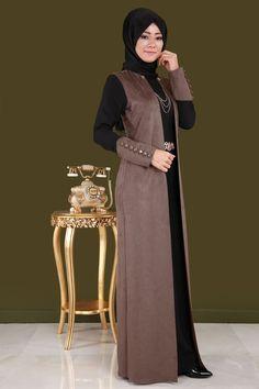 Çift Renkli Süet Detay Elbise YGS6006 Vizon&Siyah