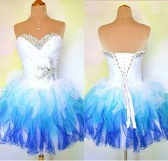 Short Prom Dresses,Tulle Prom Dresses,Rainbow Dress Strapless A