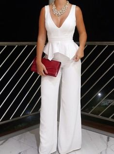 Pin by Marcela Catano on Moda in 2019 Formal Prom, Formal Wedding, Jumpsuit Dress, Dress Up, Clothing Hacks, Event Dresses, White Outfits, Fashion Outfits, Womens Fashion