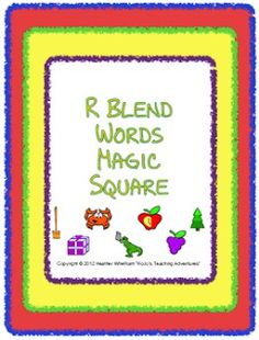These two Magic Square puzzles focus on R blends (cr, br, dr, gr, fr, pr, tr). Each puzzle contains twelve R blend words that students will match to the correct picture. $