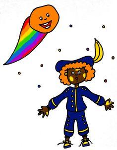 Piet met gele vlekjes. Liedbundel, Zing mee voor Sint, Piet en Paard : De kleine komeet (melodie: De Zilvervloot)! Wat scheert vol kleurenpracht ! Dwars door de nacht?! De kleine komeet Koloro! 't Is zeldzaam, maar waar! Eens per zeshonderd jaar! Komt de kleine komeet Koloro! ...