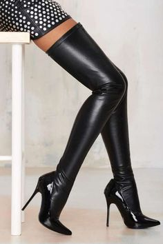 WOW! Nasty Gal Closer Thigh High Stiletto Boot - Black by Nasty Gal http://api.shopstyle.com/action/apiVisitRetailer?id=491217683&pid=uid1209-1151453-20  #highheels #heels #moda