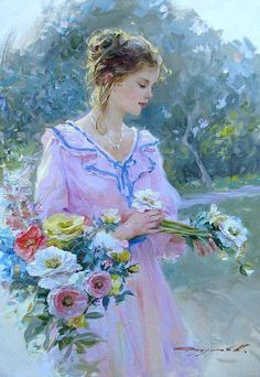 Konstantin Razumov - Young Lady with Flowers Pictures To Paint, Art Pictures, Double Exposition, Illustration, Poster S, Woman Painting, Painting Art, Beautiful Paintings, Female Art